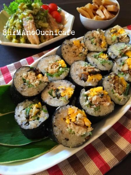 塩鯖のネギの鰻巻き風巻寿司